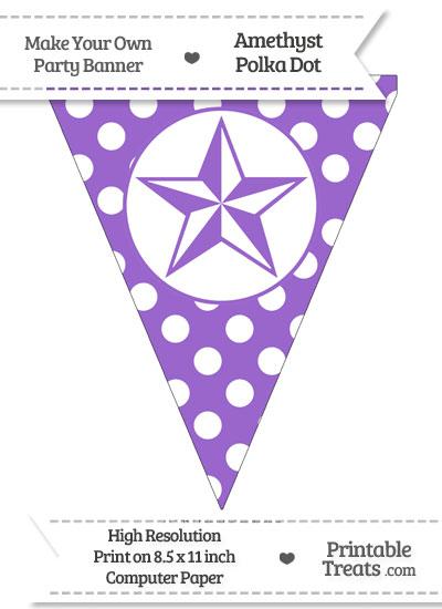 Amethyst Polka Dot Pennant Flag with Nautical Star from PrintableTreats.com