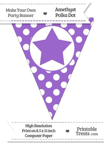 Amethyst Polka Dot Pennant Flag with Star from PrintableTreats.com