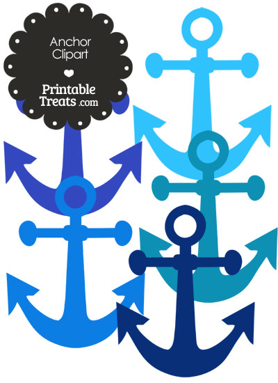 Anchor Clipart in Shades of Blue from PrintableTreats.com