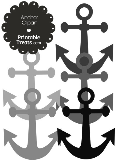 Anchor Clipart in Shades of Grey from PrintableTreats.com