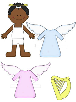 african american angel paper doll
