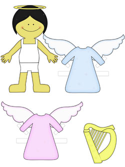 asian angel paper doll