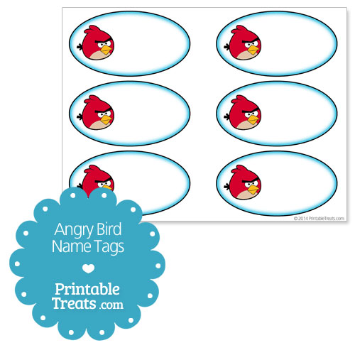 angry bird printable name tags