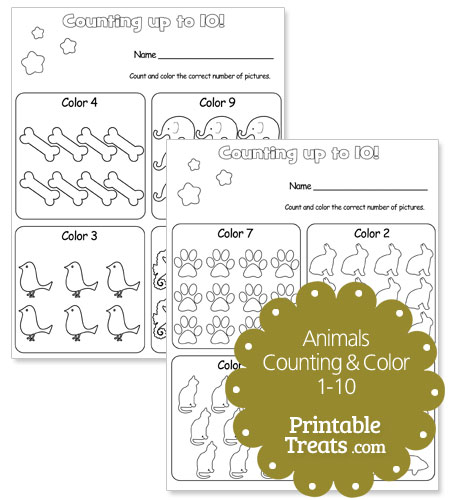 animal counting worksheets 1-10