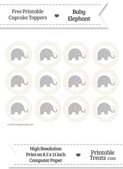 Antique White Chevron Baby Elephant Cupcake Toppers from PrintableTreats.com