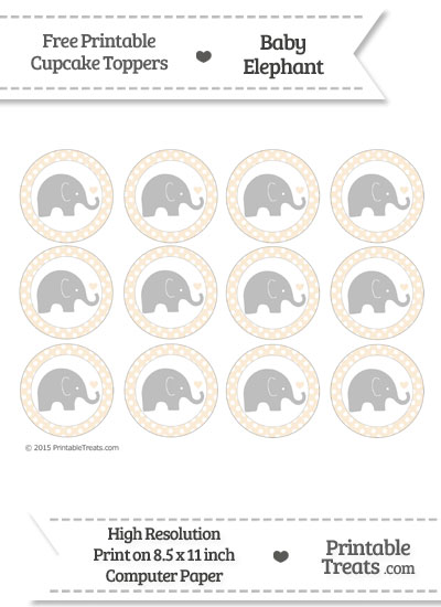Antique White Polka Dot Baby Elephant Cupcake Toppers from PrintableTreats.com