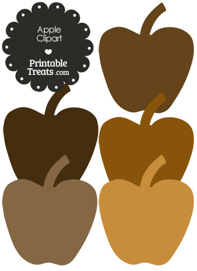 Apple Clipart in Shades of Brown from PrintableTreats.com