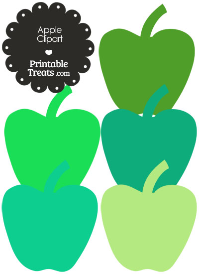 Apple Clipart in Shades of Green from PrintableTreats.com