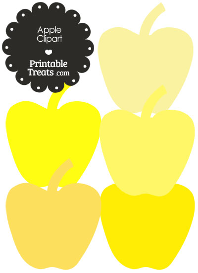 Apple Clipart in Shades of Yellow from PrintableTreats.com