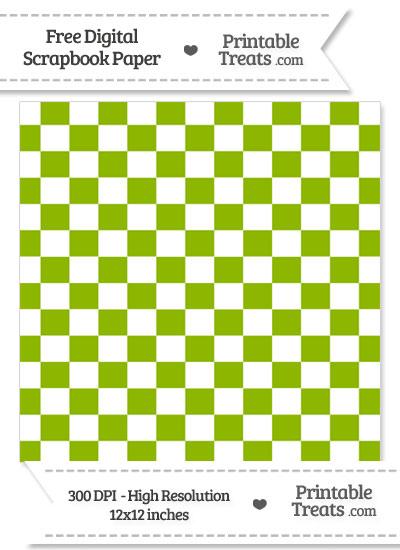 Apple Green Checkered Pattern Digital Paper from PrintableTreats.com
