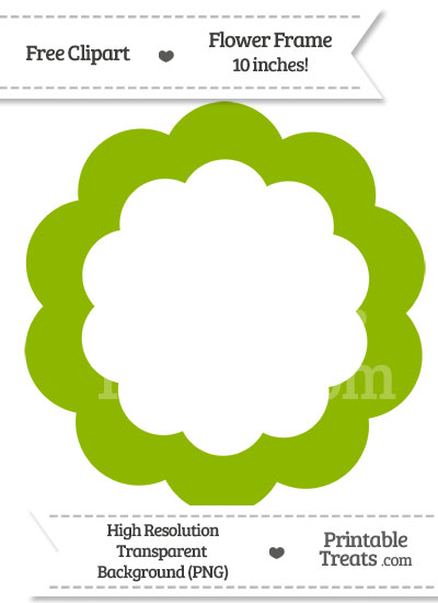 Apple Green Flower Frame Clipart from PrintableTreats.com