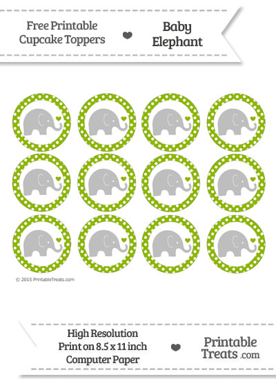 Apple Green Polka Dot Baby Elephant Cupcake Toppers from PrintableTreats.com