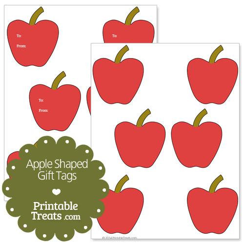 printable apple shaped gift tags