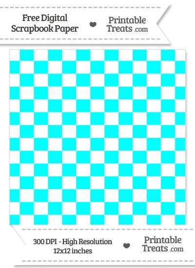 Aqua Blue Checkered Pattern Digital Paper from PrintableTreats.com