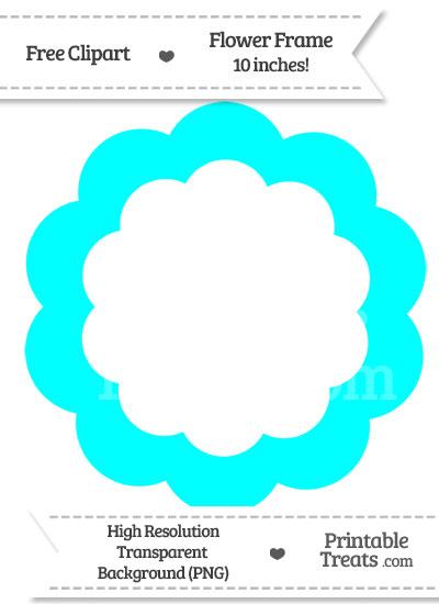 Aqua Blue Flower Frame Clipart from PrintableTreats.com