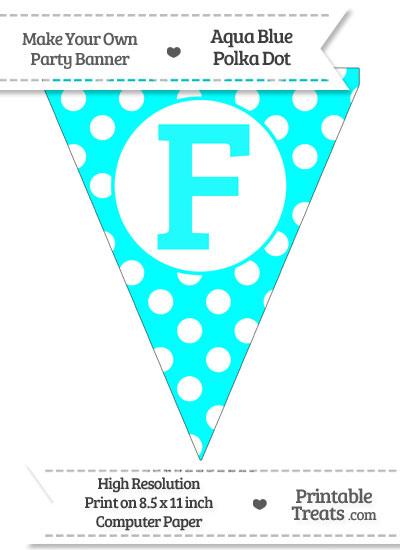 Aqua Blue Polka Dot Pennant Flag Capital Letter F from PrintableTreats.com