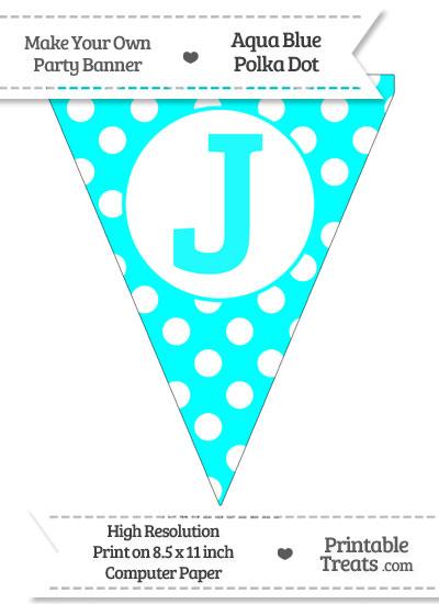 Aqua Blue Polka Dot Pennant Flag Capital Letter J from PrintableTreats.com