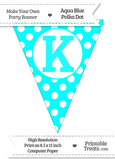 Aqua Blue Polka Dot Pennant Flag Capital Letter K from PrintableTreats.com