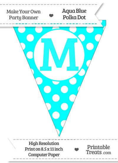 Aqua Blue Polka Dot Pennant Flag Capital Letter M from PrintableTreats.com