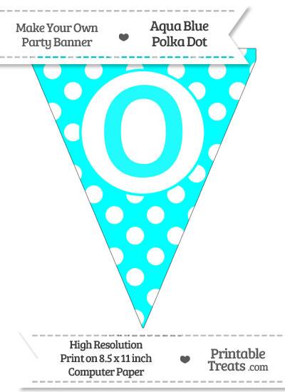Aqua Blue Polka Dot Pennant Flag Capital Letter O from PrintableTreats.com