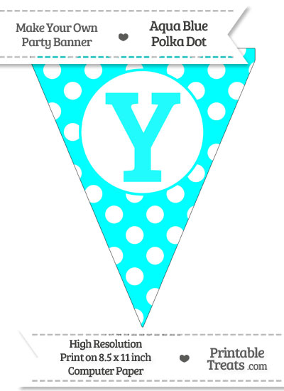 Aqua Blue Polka Dot Pennant Flag Capital Letter Y from PrintableTreats.com
