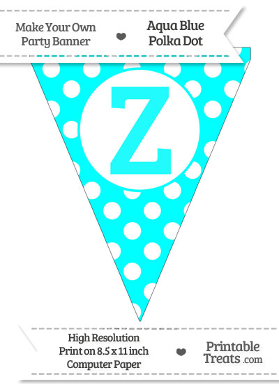 Aqua Blue Polka Dot Pennant Flag Capital Letter Z from PrintableTreats.com