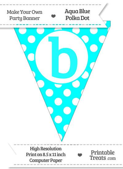 Aqua Blue Polka Dot Pennant Flag Lowercase Letter B from PrintableTreats.com