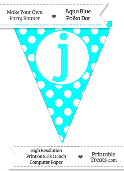 Aqua Blue Polka Dot Pennant Flag Lowercase Letter J from PrintableTreats.com