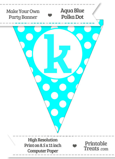 Aqua Blue Polka Dot Pennant Flag Lowercase Letter K from PrintableTreats.com