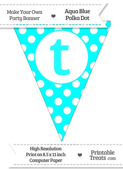 Aqua Blue Polka Dot Pennant Flag Lowercase Letter T from PrintableTreats.com