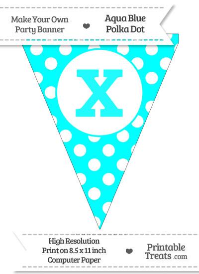 Aqua Blue Polka Dot Pennant Flag Lowercase Letter X from PrintableTreats.com