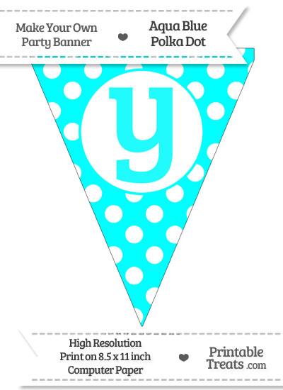 Aqua Blue Polka Dot Pennant Flag Lowercase Letter Y from PrintableTreats.com