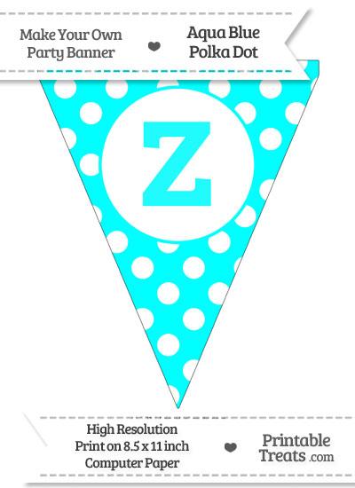 Aqua Blue Polka Dot Pennant Flag Lowercase Letter Z from PrintableTreats.com