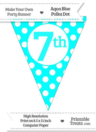 Aqua Blue Polka Dot Pennant Flag Ordinal Number 7th from PrintableTreats.com