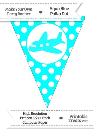 Aqua Blue Polka Dot Pennant Flag with Airplane Facing Left from PrintableTreats.com