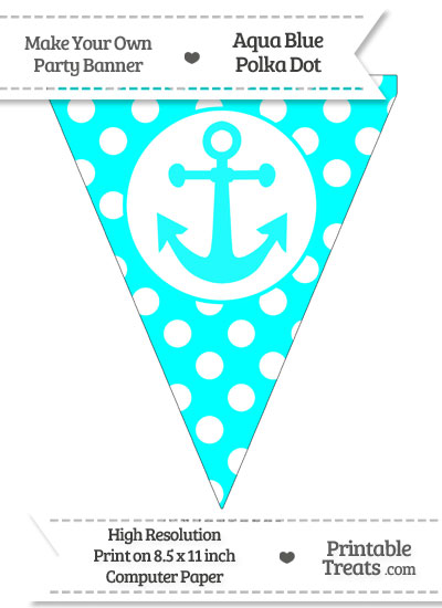 Aqua Blue Polka Dot Pennant Flag with Anchor from PrintableTreats.com