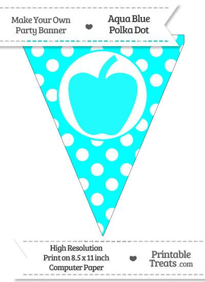 Aqua Blue Polka Dot Pennant Flag with Apple from PrintableTreats.com