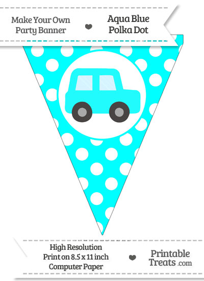 Aqua Blue Polka Dot Pennant Flag with Car Facing Right from PrintableTreats.com