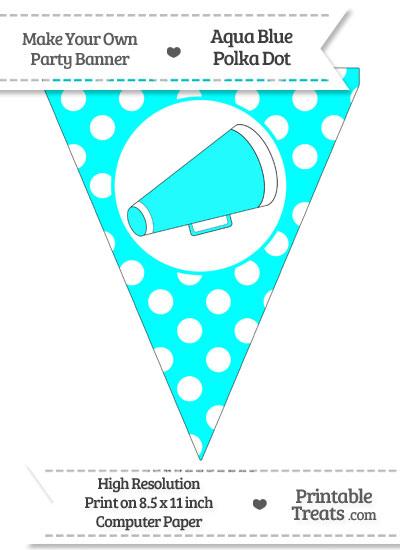 Aqua Blue Polka Dot Pennant Flag with Cheer Megaphone Facing Right from PrintableTreats.com