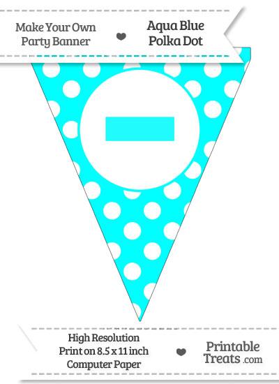Aqua Blue Polka Dot Pennant Flag with Dash from PrintableTreats.com