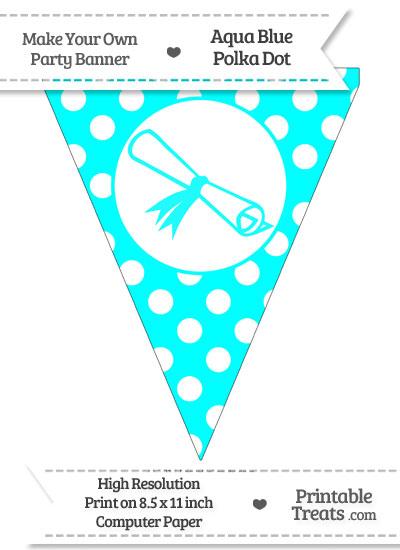 Aqua Blue Polka Dot Pennant Flag with Diploma from PrintableTreats.com