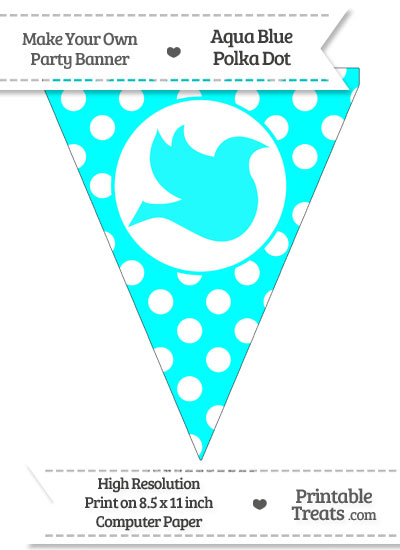 Aqua Blue Polka Dot Pennant Flag with Dove Facing Right from PrintableTreats.com