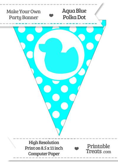 Aqua Blue Polka Dot Pennant Flag with Duck Facing Left from PrintableTreats.com