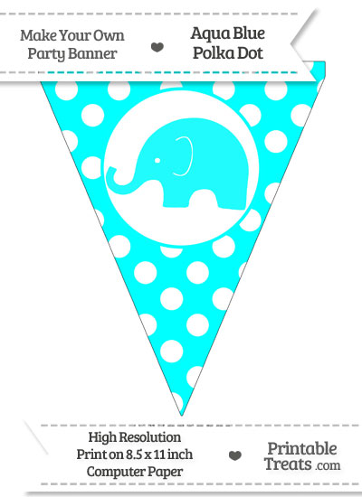 Aqua Blue Polka Dot Pennant Flag with Elephant Facing Left from PrintableTreats.com