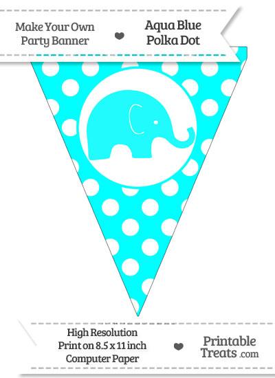 Aqua Blue Polka Dot Pennant Flag with Elephant Facing Right from PrintableTreats.com