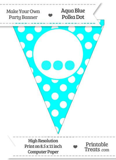 Aqua Blue Polka Dot Pennant Flag with Ellipses from PrintableTreats.com