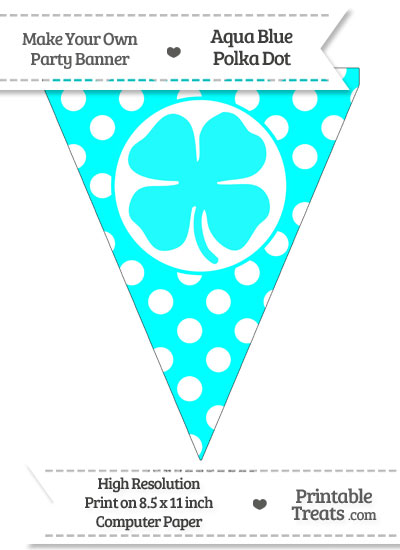 Aqua Blue Polka Dot Pennant Flag with Four Leaf Clover Facing Left from PrintableTreats.com