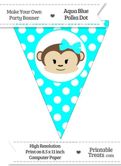 Aqua Blue Polka Dot Pennant Flag with Girl Monkey from PrintableTreats.com