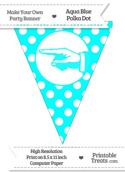 Aqua Blue Polka Dot Pennant Flag with Hand Pointing Left from PrintableTreats.com