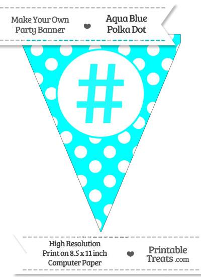 Aqua Blue Polka Dot Pennant Flag with Hash Character from PrintableTreats.com
